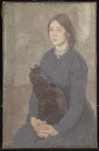 Young Woman Holding a Black Cat c.1920-5 by Gwen John 1876-1939
